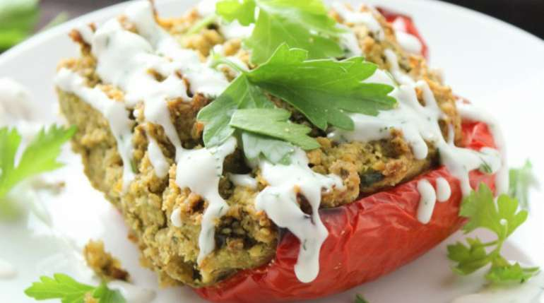 Falafel-Stuffed Peppers With a Coconut Dill Sauce
